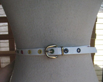 Cute 50s VINYL SKINNY Belt With Colored DOTS 1950s