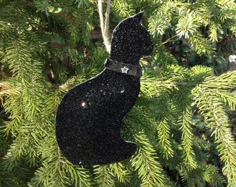 black cat glitter fabric christmas tree ornament