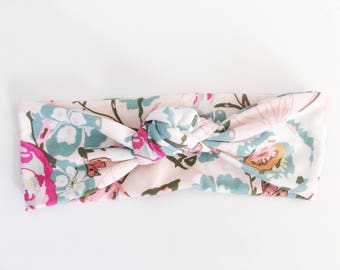 Pink Floral Top Knot Headband / Knotted Headband / Baby Turban / Baby Gift / Toddler Headband / Macie and Me / Adult Headband