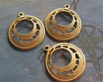 4 PC Raw Brass Art Deco Hoop Finding -  Q0274
