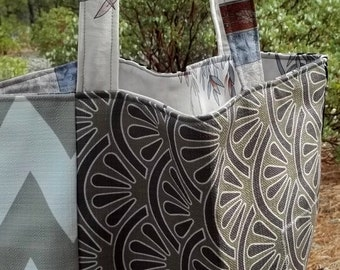 Rescued Futon Cover Sample Prewashed Lined Market Bag Shopping Tote