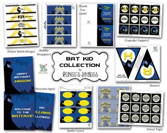 BAT KID Collection - for Birthday Party, or other Event - Customized - DIY Superhero Printable Coordinating Design Accessories