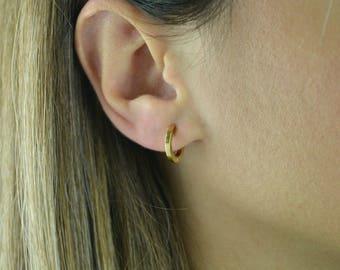Earrings ,Solid gold hoop earrings , Solid k14 earrings, Solid gold earrings, k18 solid gold  earrings, Gold earrings k18 gold
