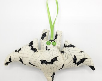 Ivory with Black Bats and Grey Spiderwebs Microbat