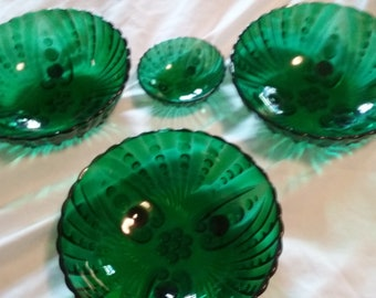 Vintage Set of 4 (Four) Anchor Hocking Burple Dish(es)/Antique Green Glassware/Footed Dish/Bubbles/Replacement/Primitive Relish/Two Size