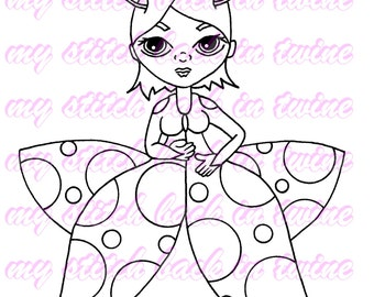 Digital stamp colouring image - ladybug Charlee . jpeg / png