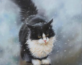 Cat on the fence, Original oil painting, Winter, Snow, Animalistic oil painting