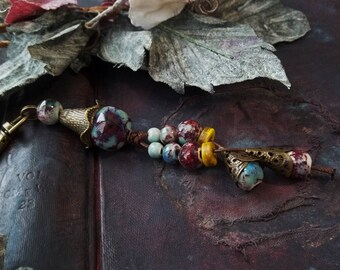 Rear View Mirror Charm Beaded Tassel Keychain For Her Boho Purse Charm Aqua Purple Red Ceramic Beads Pendant Ethnic Jewelry Gypsy Accessory