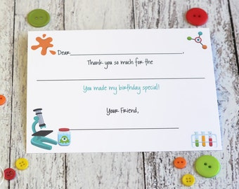 Kids Science Thank You Notes Fill In The Blank / Science Party Thank You Notes / Science Thank You Notes / Science Fill In Thank You Notes