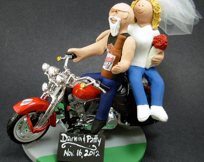 Bald Biker Groom on Harley Davidson Wedding Cake Topper, Harley Davidson Wedding Anniversary Gift/Cake Topper, Biker's Anniversary gift