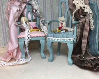 Choice of Pink Upholstered Chair or Teal Upholstered Chair Covered with Fabric, Ribbons, Lace and Sewing Notions