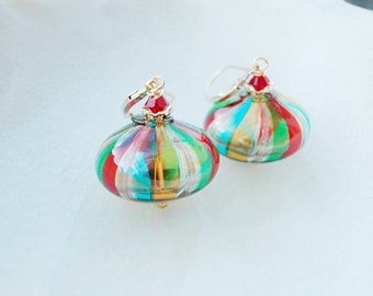 Murano Cippolina Blown Glass Earrings