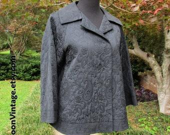 VINTAGE EMBROIDERED JACKET, Quilted Short Black Jacket, Asian short coat, 90s does 30s Boho Goth jacket, floral paisley embroidery jacket, S