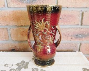 Crown Devon Fielding Art Deco 1930s Rouge Royale porcelain luster vase, twin handles, 22.5 cm tall, rare