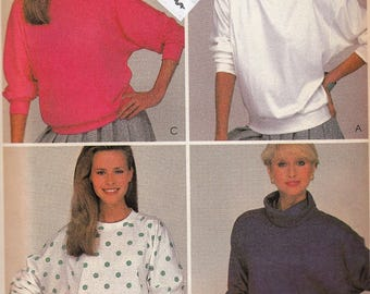 "Womens Sewing Pattern Pullover Tops Turtlenecks Round Neckline Long Sleeve Size Petite 6-8 Bust 29.5-30.5"" McCall's 8367 UNCUT"
