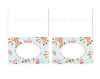 PRINTABLE Fancy Tent Tags - Blue Shabby Chic Party Collection - Dandelion Design Studio