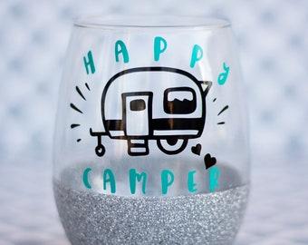 Happy Camper Wine Glass