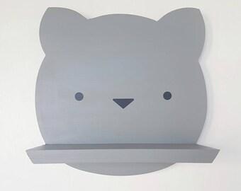 Cute wooden cat shelf - kitty face shelf - handmade floating kitten shelf