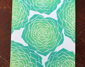 Handprinted 6 Succulet Card