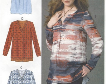 Womens Boho Pullover Tunic or Tops McCalls Sewing Pattern M7248 Size 14 16 18 20 22 Bust 36 38 40 42 44 UnCut Sewing Pattern