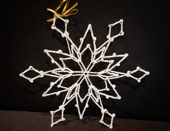 Vintage Handmade White Crocheted Christmas Ornament #11