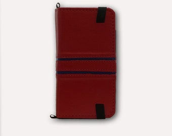 Handcrafted Red iPhone folio case, made with luxurious genuine Italian leather, FREE shipping to U.S.