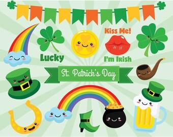 St. Patrick's Day Sticker Clipart, - Irish, Celtic, cute shamrock, vector graphics, digital clip art, digital images, commercial use clipart