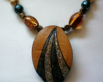 Southwestern Painted Gourd Pendant Necklace - 4824