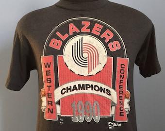 90s Vintage Portland Trailblazers Western Champions 1990 NBA Finals Trail Blazers basketball T-Shirt - MEDIUM