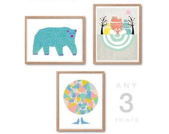 Animal Nursery decor, PRINT SET of 3, Polar Bear Print, Swans Print, Sea Lion Print, Scandinavian kids, Kids room art, Home decor, Wall Art