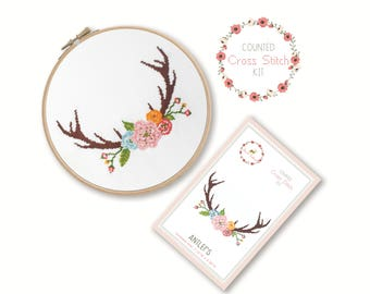 Counted Cross Stitch Kit - Antlers / boho cross stitch pattern, craft kit, embroidery, gift, fun, dmc, supplies, handmade, tribal