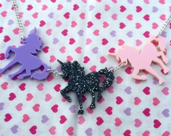 Prancing Unicorns Statement Necklace