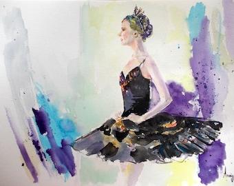 Original ballerina painting,ballerina watercolor painting,ballet art,swan lake ballerina,swan lake ballet,ballet painting,ballet watercolor
