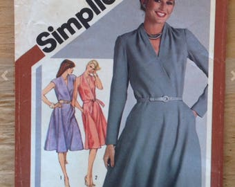 1980 surplice dress sewing pattern, Simplicity 9801, miss size 16, women, bias skirt, pocket, tucked neckline, sleeve option, vintage supply