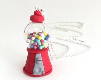 Gum Ball Machine Necklace, 80's Jewelry, Candy Jewellery, Gumball Machine , Fimo Creation, Mini Food Necklace, Miniature Food Jewelry