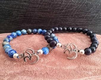 Women's bracelet, women's yoga bracelet, yoga bracelet, mala bracelet, gift for women, om bracelet, stretch bracelet, yoga jewelry, yoga om