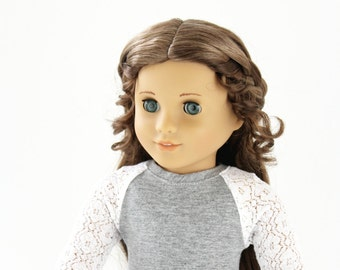 Fits like American Girl Doll Clothes - The Baseball Raglan Tee in Heather Gray and Lace | 18 Inch Doll Clothes
