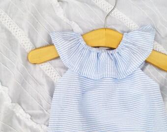 Seersucker Dress, beach dress, photoshoot, baby seersucker blue, Memorial Day outfit, size 6 months 12,18 months 2t 3t 4t 5t,6,7/8,9/10,