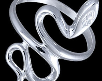 Sterling silver snake ring, solid 925 sterling silver ring