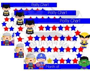 Superhero Potty Training Chart DIY Digital Design