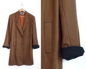 80s brown wool coat minimalist wool coat blazer style shift coat 1980s wool collared coat womens winter coat medium
