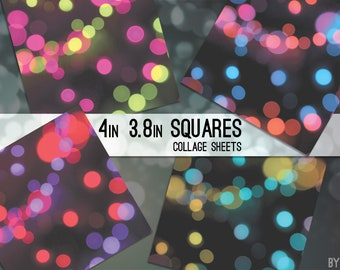 """Digital Collage Sheet 3.8"""" x 3.8"""" and 4 x 4 Inch Square Bokeh C0012 Images for Hangtags Coasters Scrapbooking Magnets JPG"""