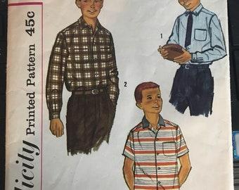 Vintage 50s Simplicity 2212 Boys Shirt Pattern-Size 14 (32 Chest)