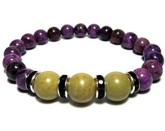 Purple Crazy Lace Agate Beads, Picture Jasper Beads, Black Crystal Silver Rings. Roll on bracelet.