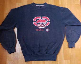 ECKO UNLTD sweatshirt, blue vintage hip hop hoodie, old school sweat shirt 90s hip-hop clothing, 1990s gangsta rap, og, size M Medium