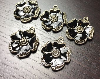 Black Enamel Poppy Flower Pendants -- Set of 5