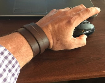 Mens Leather Wrap Cuff