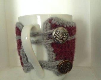Mug cosy, travel coffee sleeve, simple sophisticated hand crocheted mug cosy for fall, winter