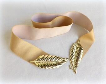 Gold elastic waist belt. Gold leaf buckle. Wide golden belt. Bridal belt. Evening dress belt.