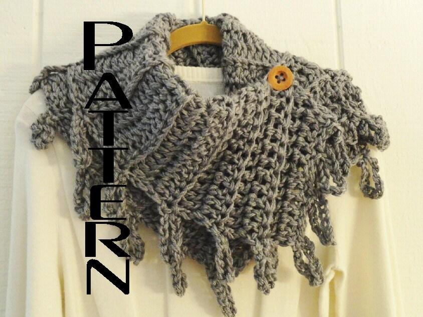 Crochet PATTERN Loopy Fringe Button Cowl Pattern DIY